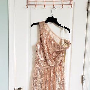 Rose gold sequined one shoulder dress